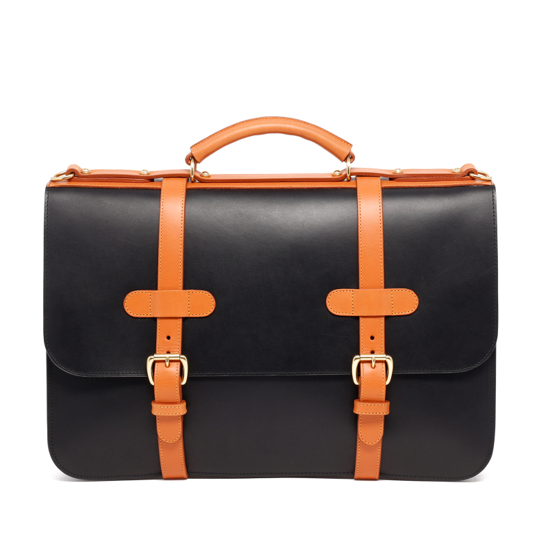 English Briefcase - Black/Tan - Harness Belting Leather in