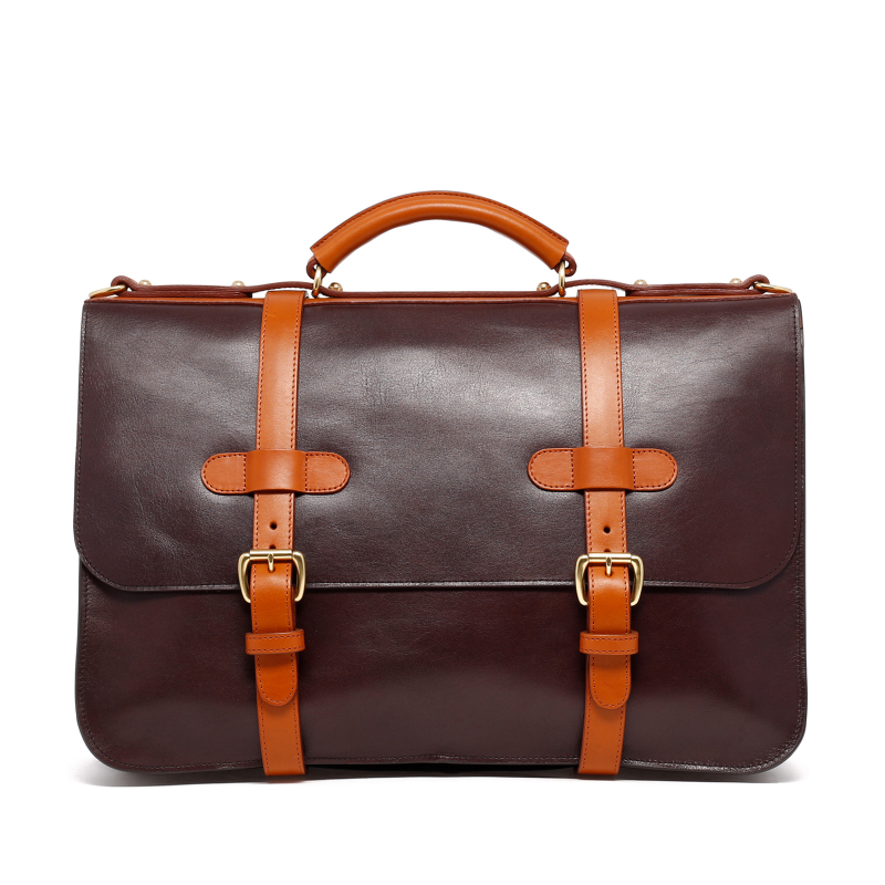 English Briefcase - Chocolate/Cognac - Glossy Tumbled Leather