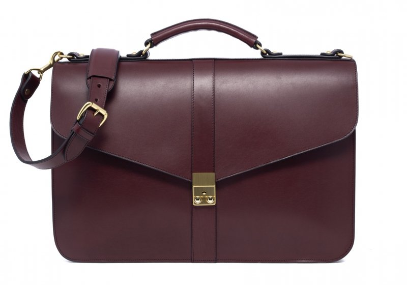Lock Briefcase-Burgundy in Harness Belting Leather
