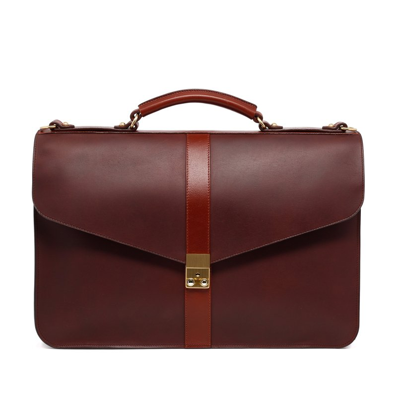 Lock Briefcase - Matte Chocolate/Chestnut - Harness Belting Leather
