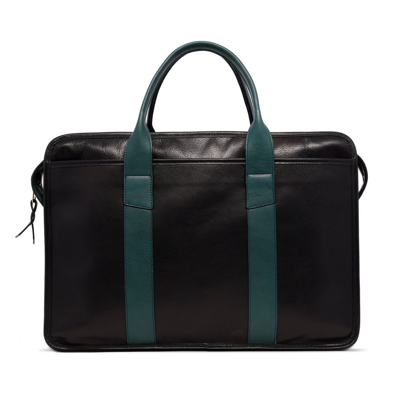 Bound Edge Zip-Top - Black/Forest Green - Tumbled Grain Leather in