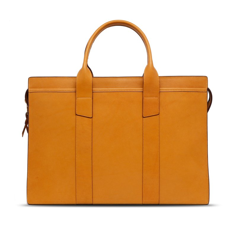 Double Zip-Top Briefcase - Ochre - Harness Leather