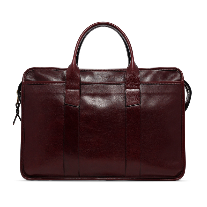 Bound Edge Zip-Top - Dark Plum - Glossy Tumbled Leather