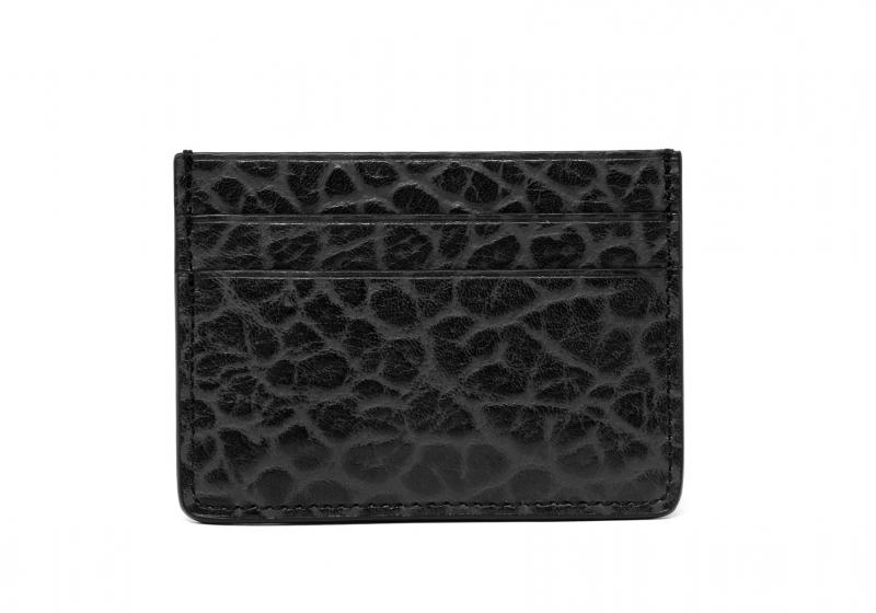 Leather Credit Card Wallet -Black-Double in Shrunken Grain Leather