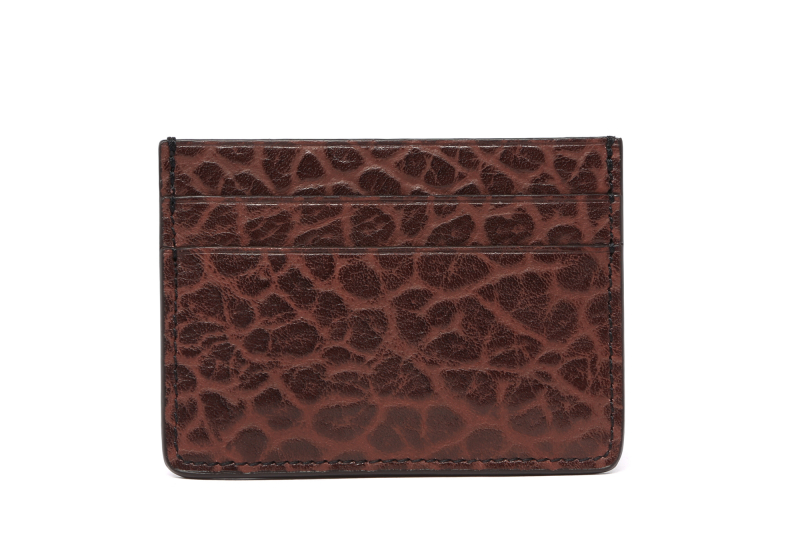 Leather Credit Card Wallet -Chocolate-Double in Shrunken Grain Leather