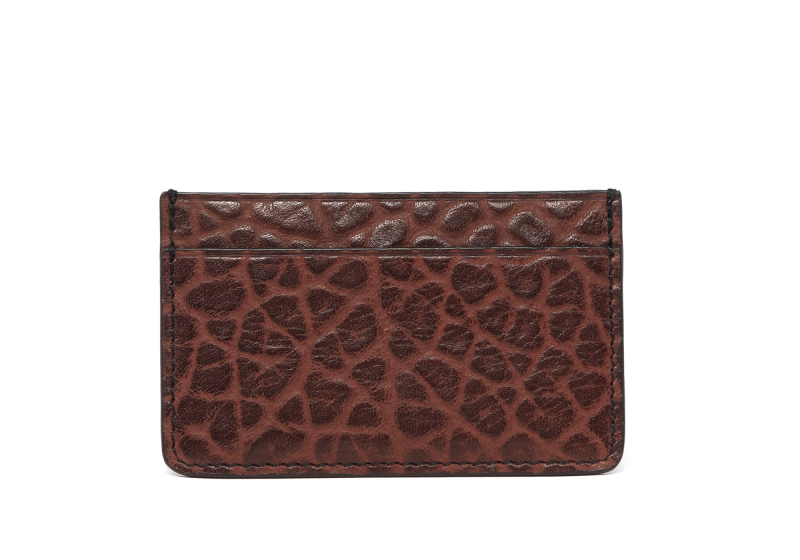 Leather Credit Card Wallet -Chocolate-Single in Shrunken Grain Leather