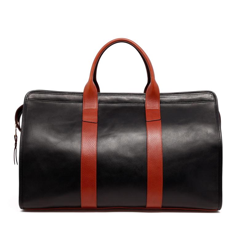 Signature Duffle - Black/Chestnut - Tumbled Grain Leather in