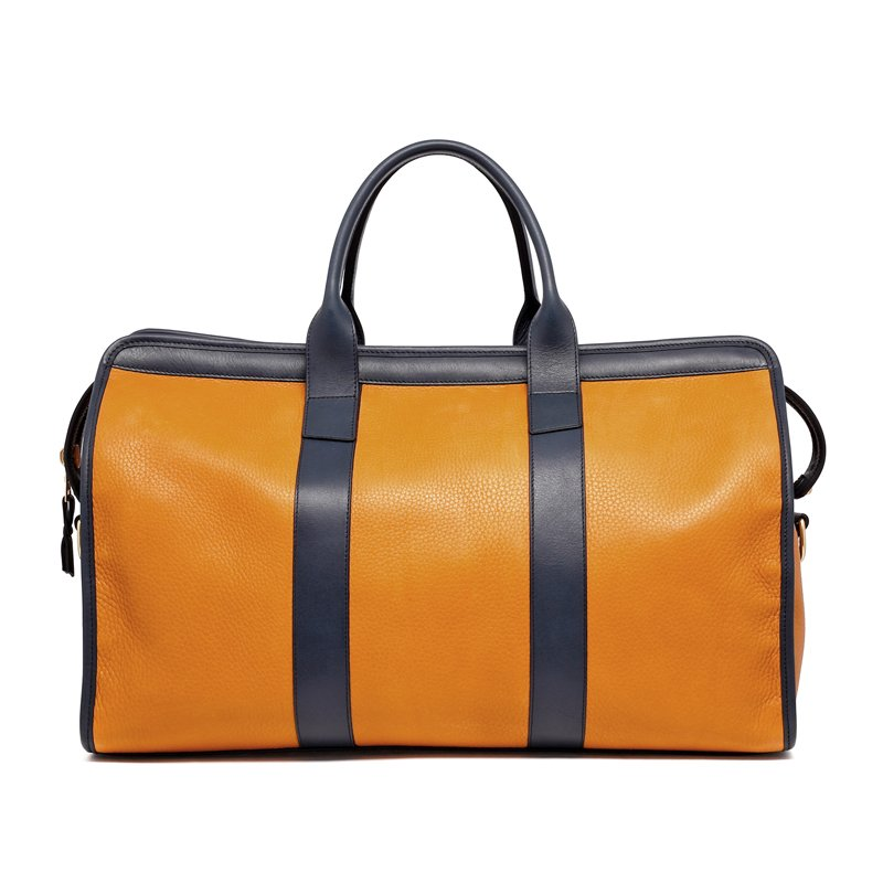 Signature Travel Duffle - Dark Ochre/Navy - Tumbled Grain Leather