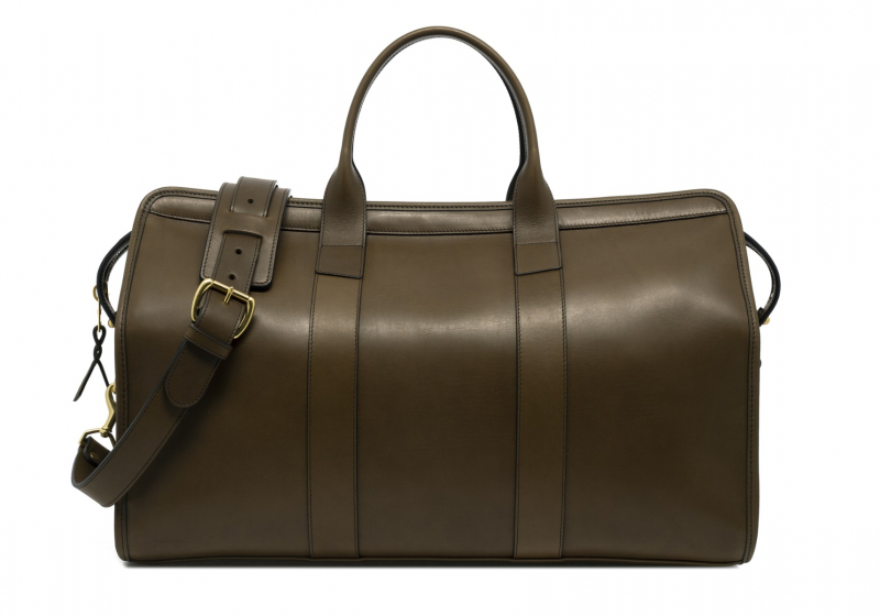 Signature Travel Duffle -Olive-Lined in Harness Belting Leather