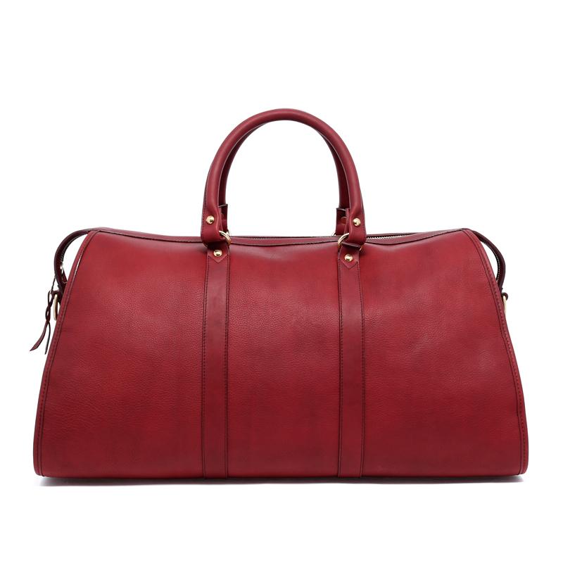 Hampton Duffle - Maroon - Tumbled Leather