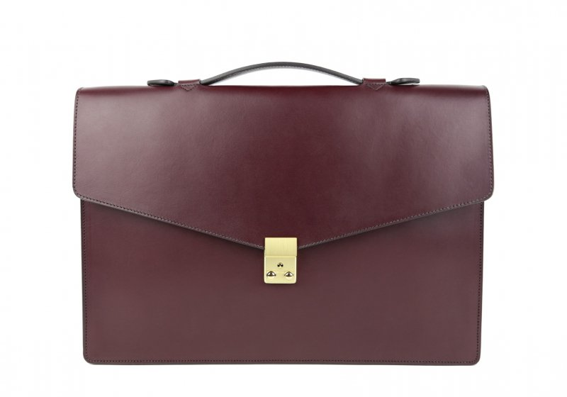 The Port Brief-Burgundy in Harness Belting Leather