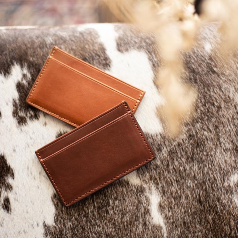 Leather Credit Card Wallet  in Shrunken Grain Leather