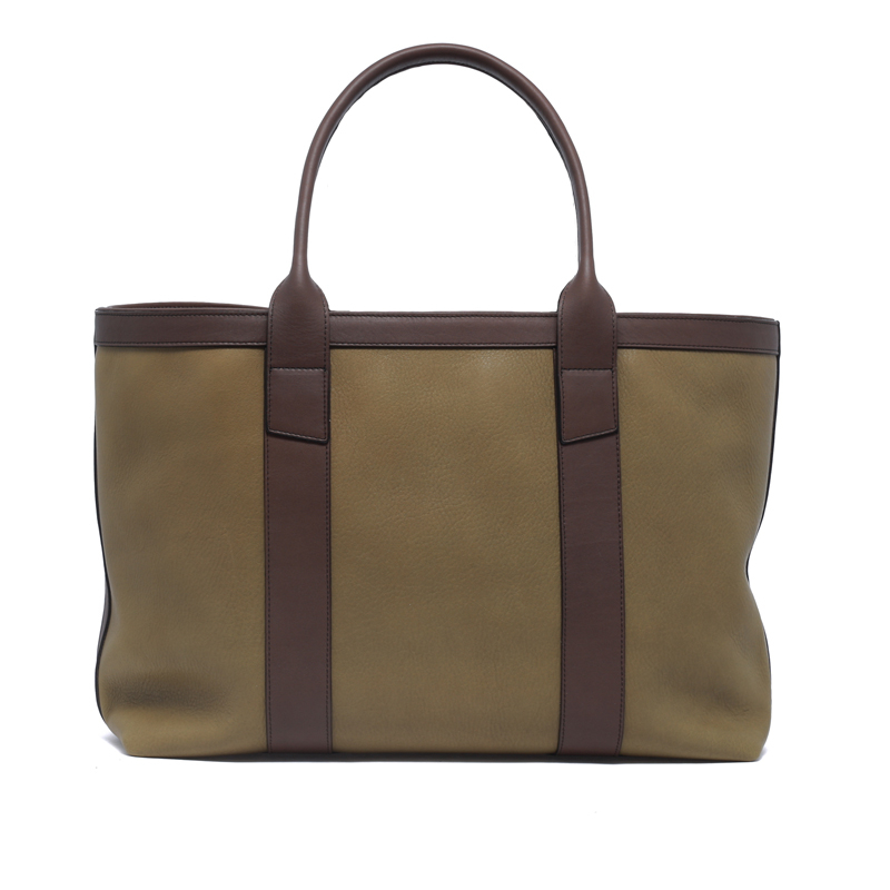 Large Working Tote - Moss Green/Matte Chocolate - Soft Tumbled Leather
