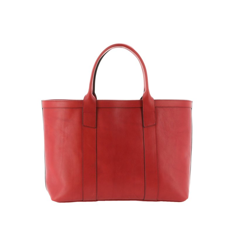 Large Working Tote - Washed Red - Tumbled Leather