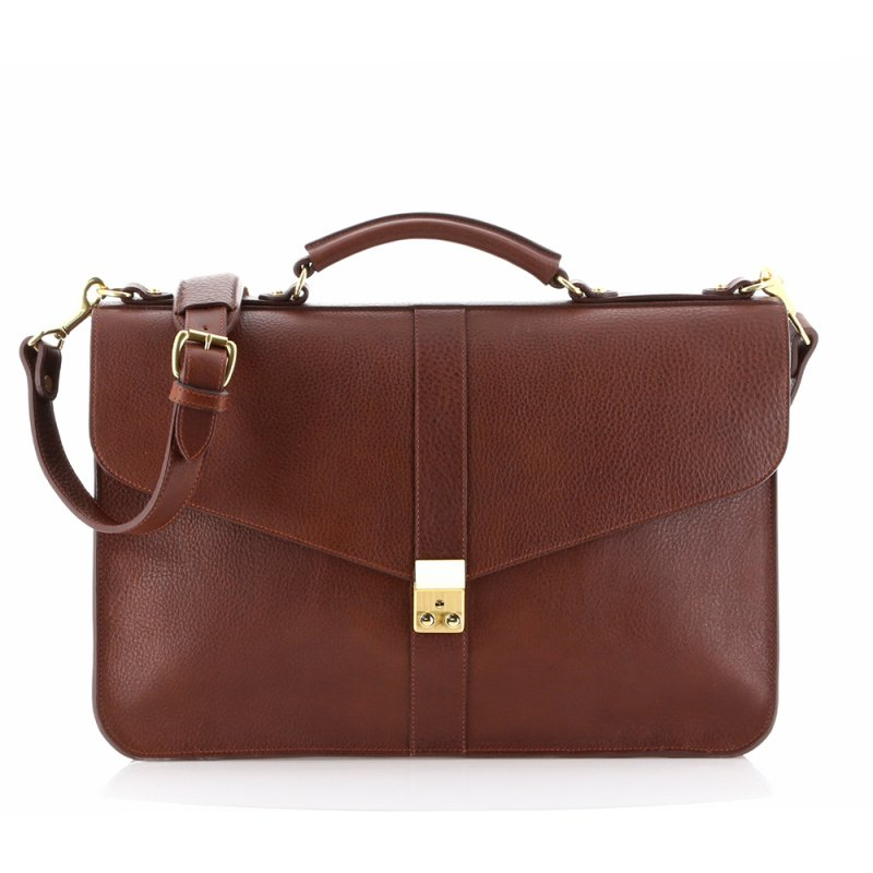 Lock Briefcase - Espresso - Tumbled Grain Leather