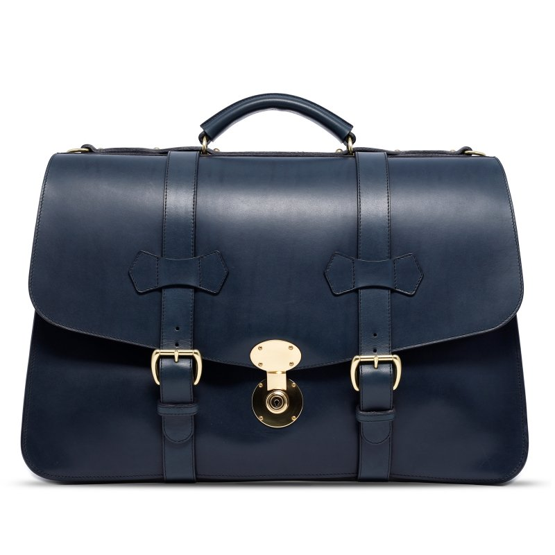 Lawyer's Briefcase with English Lock - Navy - Harness Belting Leather in