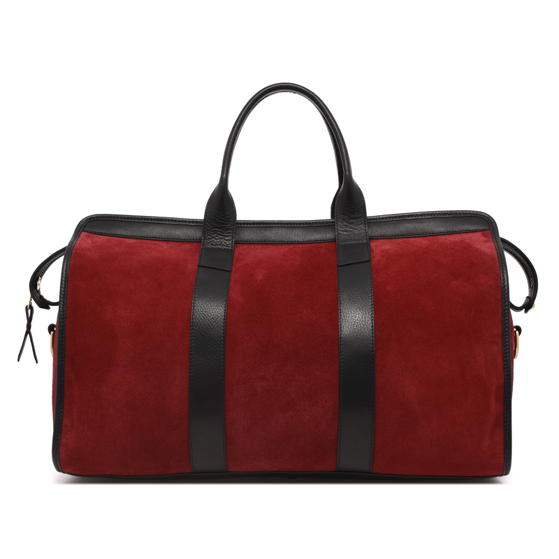 Signature Duffle - Burgundy/Black- Suede