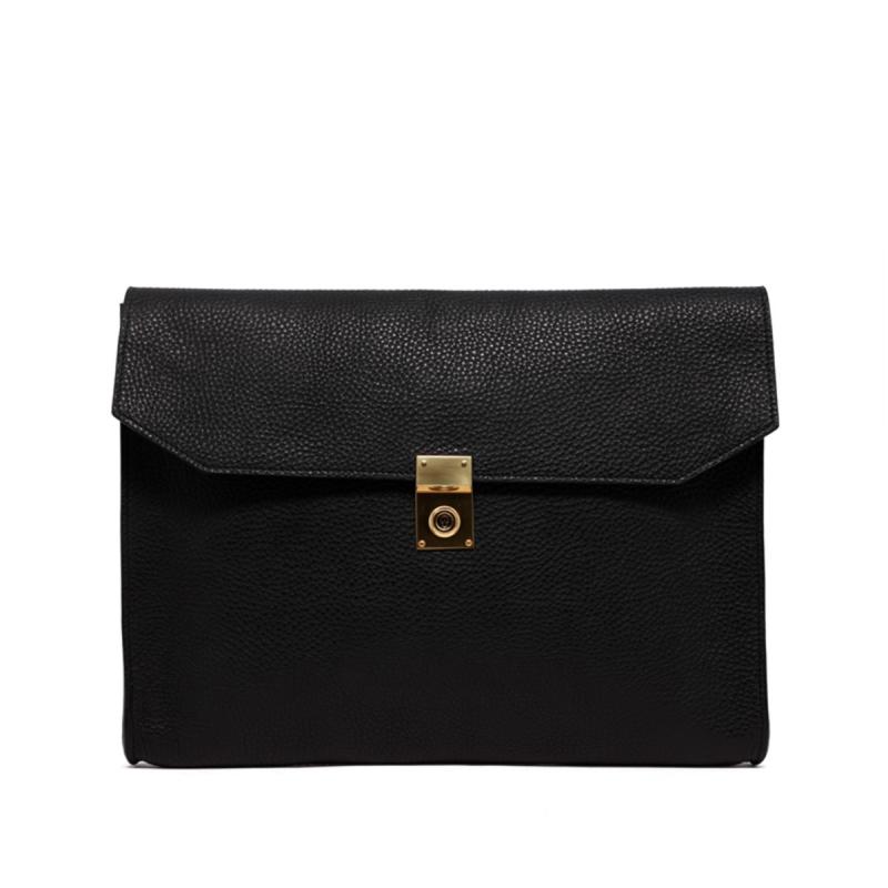 Locking Wrap Portfolio - Black/Olive Interior - Pebbled Grain Leather in