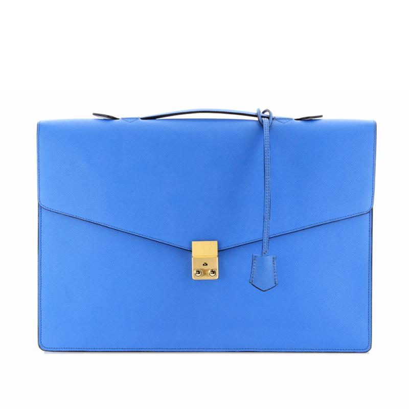 Port Brief - Cornflower Blue - Printed Grain Leather