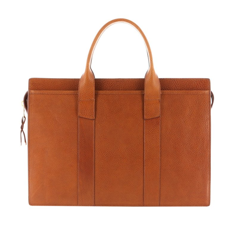 Single Zip-Top Briefcase - Cognac - Pebbled Grain Leather