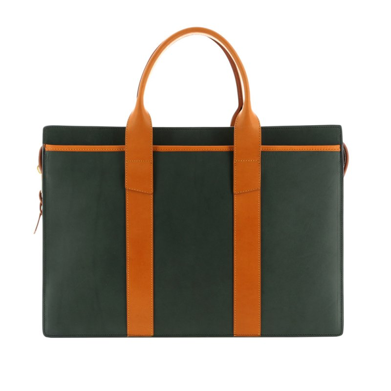 Single Zip-Top Briefcase - Green/Tan - Harness Belting Leather