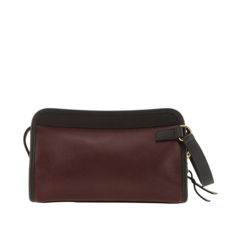 Small Travel Kit - Dark Plum/Matte Black - Tumbled Leather