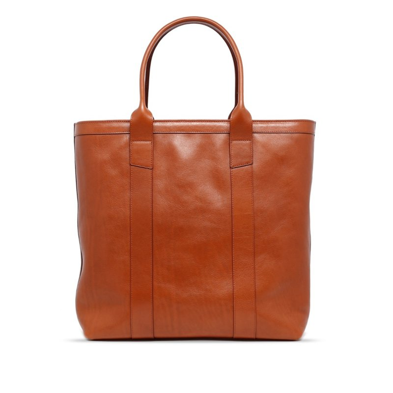 Tall Tote - Cognac/Regimental Interior - Tumbled Leather