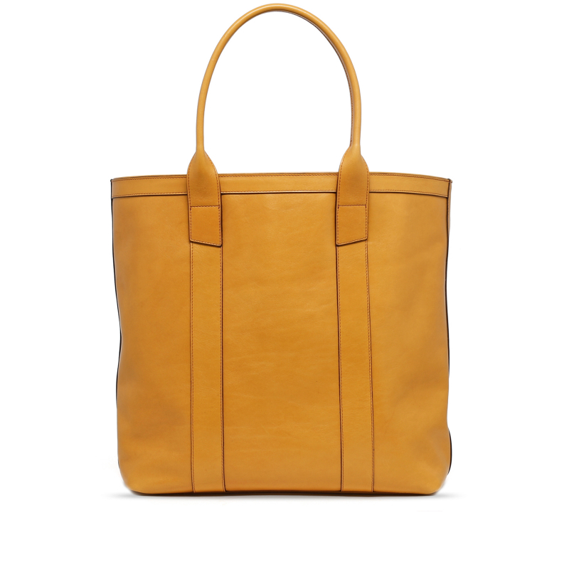 Tall Tote - Dark Yellow Ochre - Smooth Tumbled Leather in