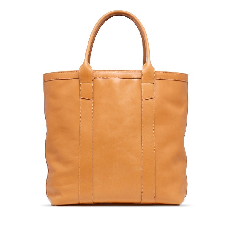 Tall Tote - Natural - Zip-Top Closure - Tumbled Leather
