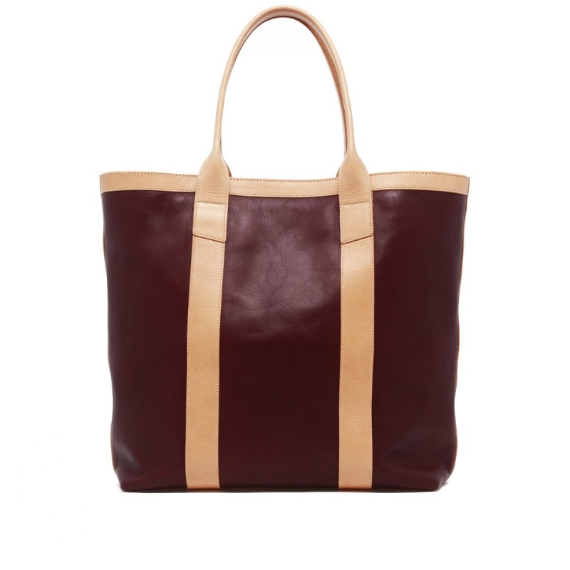 Tall Tote - Olive/Burgundy/Natural