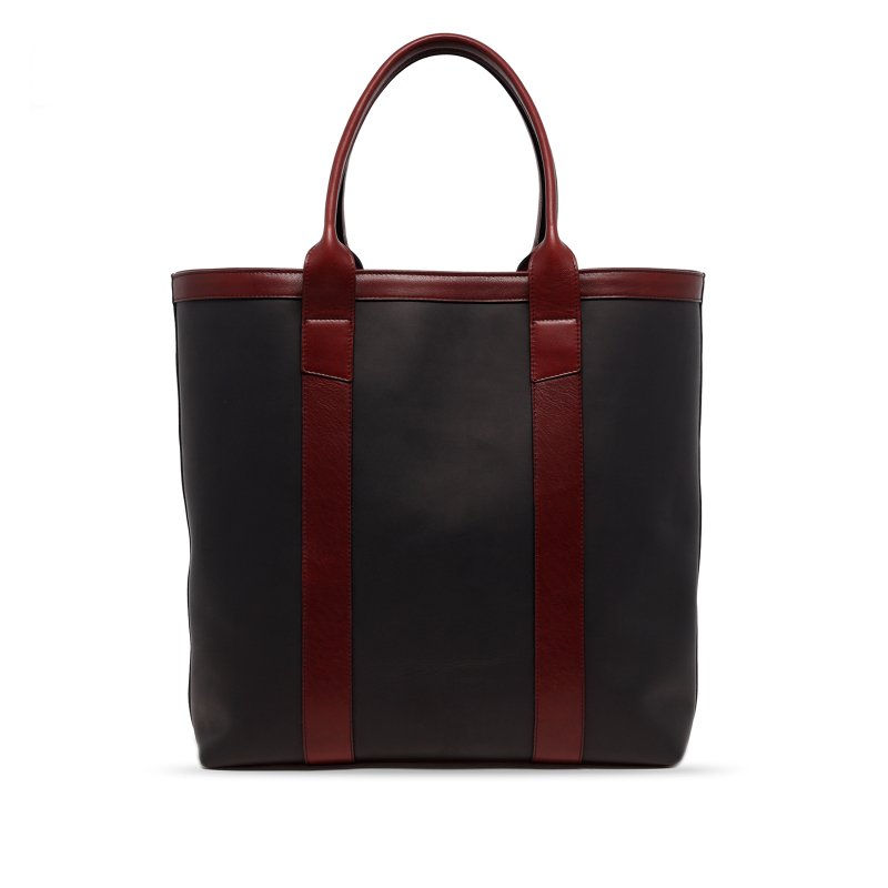 Tall Tote - Matte Black/Oxblood - Zip-Top Closure - Tumbled Leather