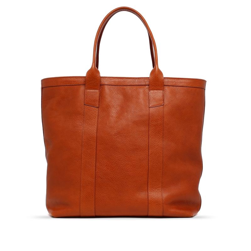 Tall Tote - Cognac - Zip-Top Closure - Pebbled Grain Leather in