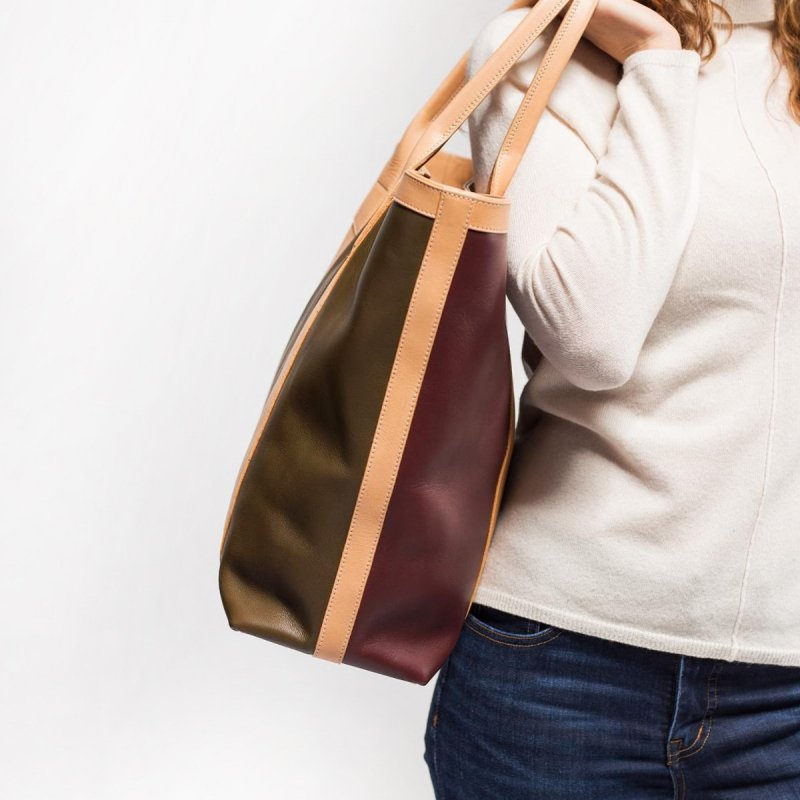 Tall Tote - Olive/Burgundy/Natural in Smooth Tumbled Leather