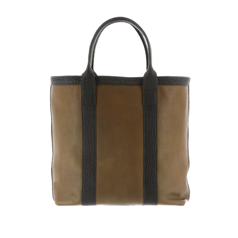Tall Tote - Olive/Black - Tumbled Leather