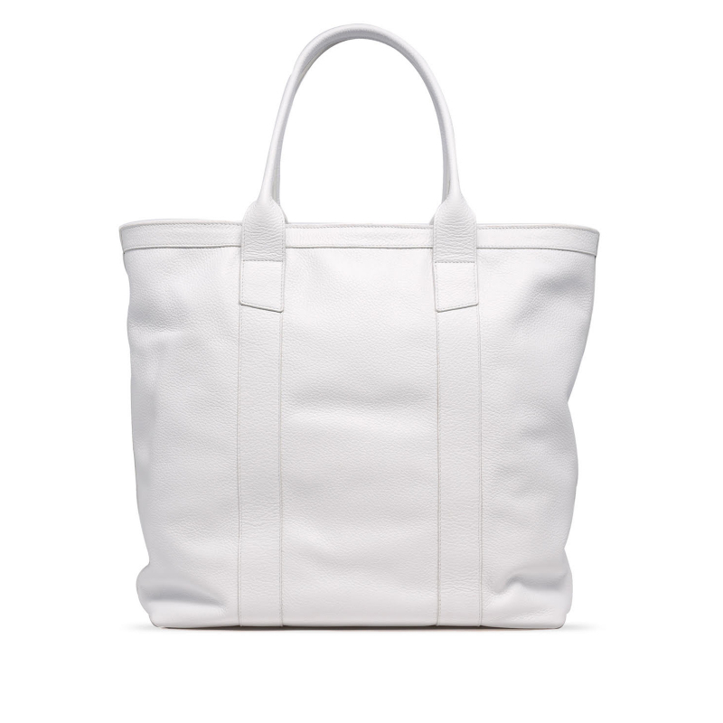 Tall Tote - White/Teal Interior - Pebbled Tumbled Leather