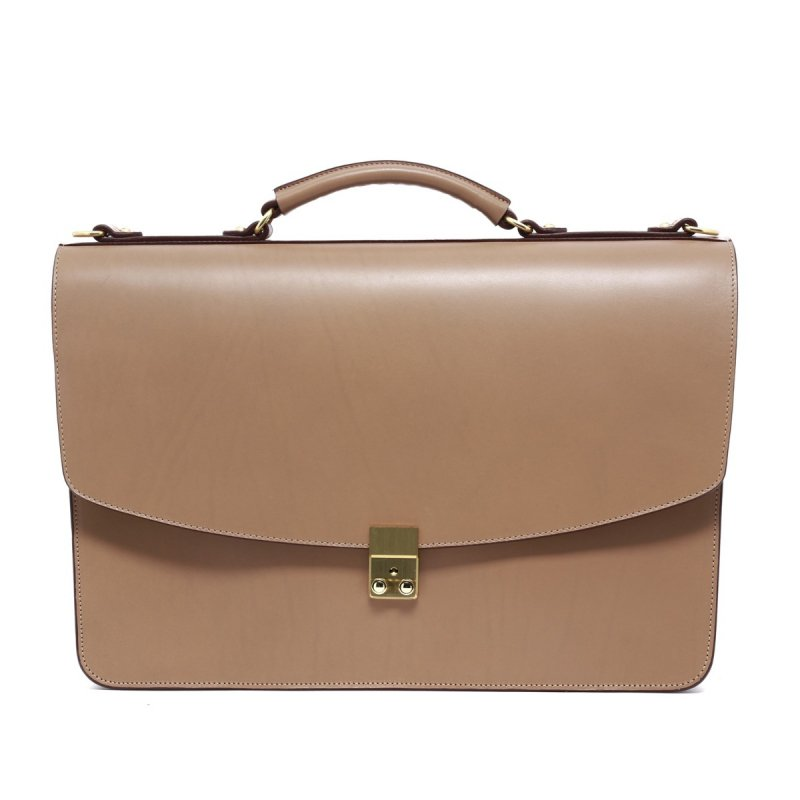 Wall Street Briefcase - Taupe  in Harness Belting Leather