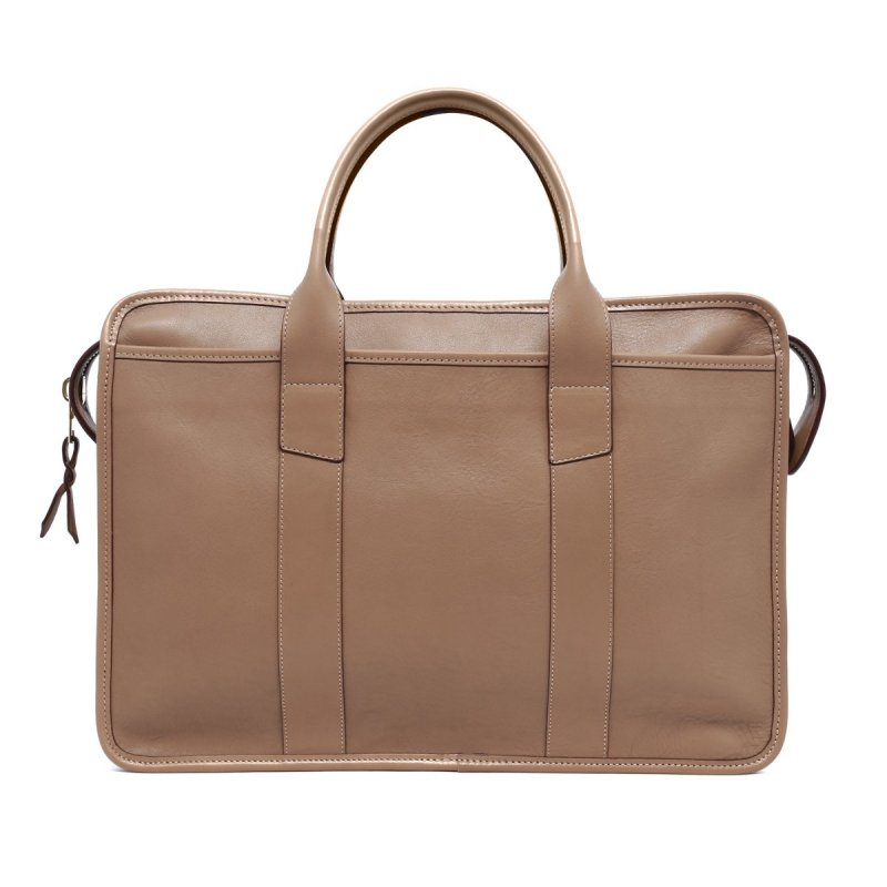 Bound Edge Zip-Top - Taupe  in Smooth Tumbled Leather