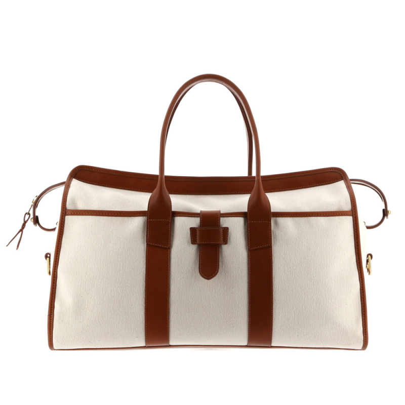 Troy Duffle - Ivory/Cognac - Heavy Weight Canvas