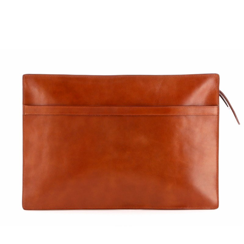 Zipper Portfolio - Cognac - Tumbled Leather