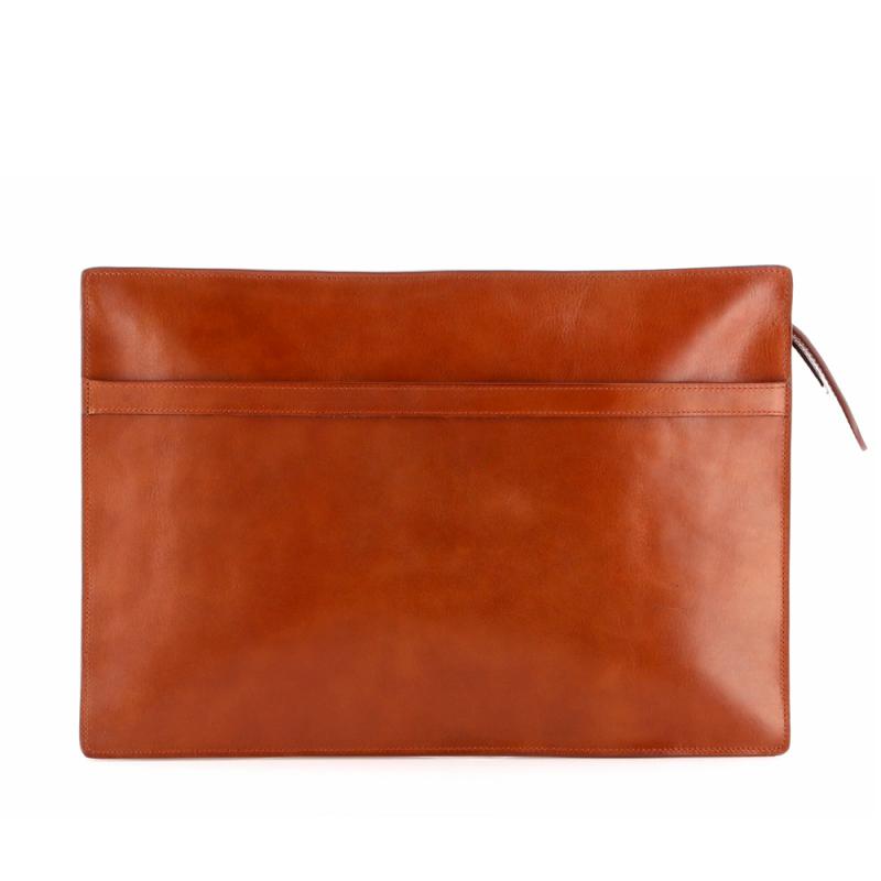 Zipper Portfolio - Cognac - Tumbled Leather