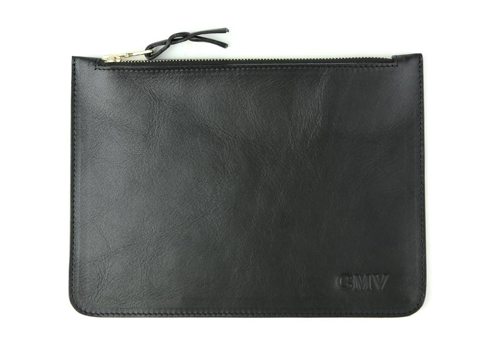 Leather Zipper Pouch Monogram 3