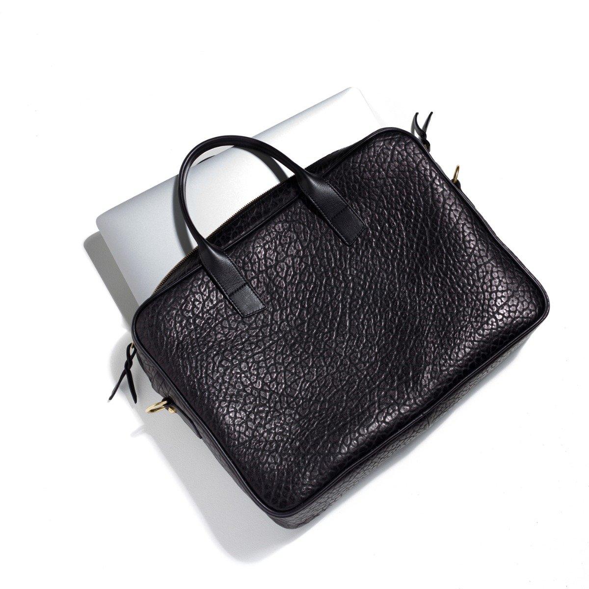 Shrunken Grain Leather Computer Briefcase Frank Clegg