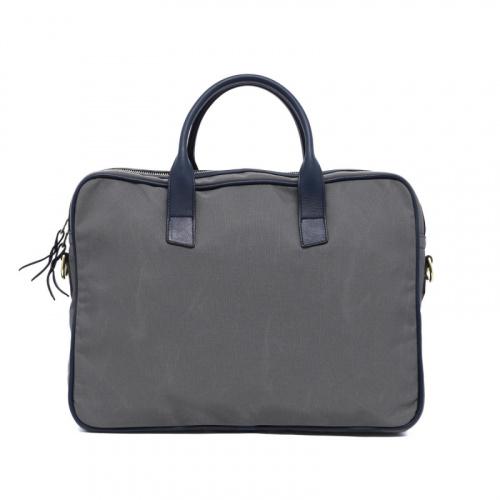Computer Briefcase - Light Grey/Navy - Sunbrella Fabric in