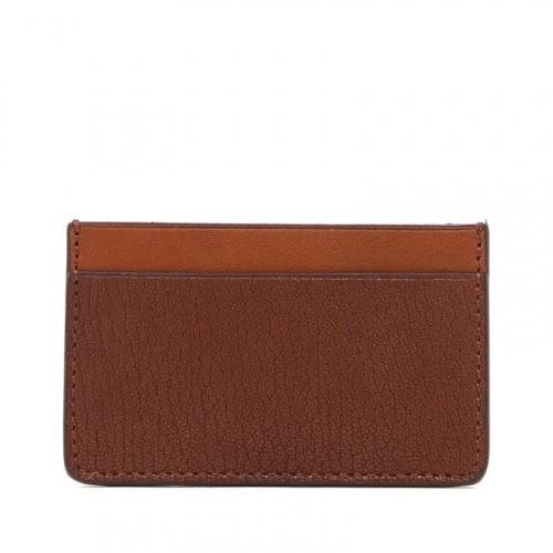 Mini Card Wallet - Antique / Cognac - Chevre Leather  in