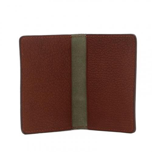 Folding Card Case - Antique / Light Green Suede - Goatskin in