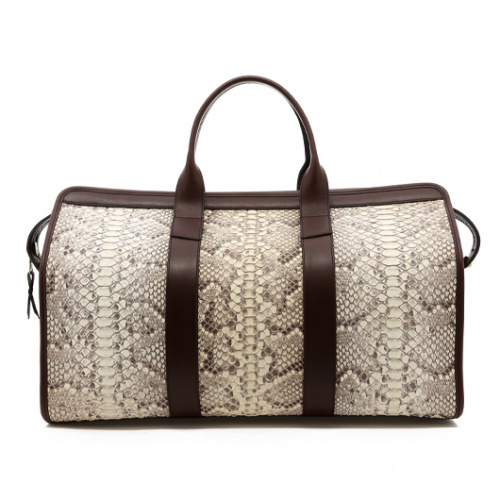 Signature Duffle - Natural/Chocolate - Python in