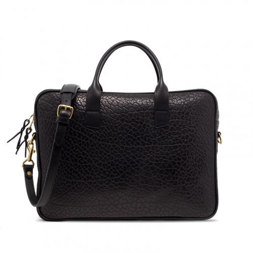 Computer Briefcase Shrunken-Black in Shrunken Grain Leather