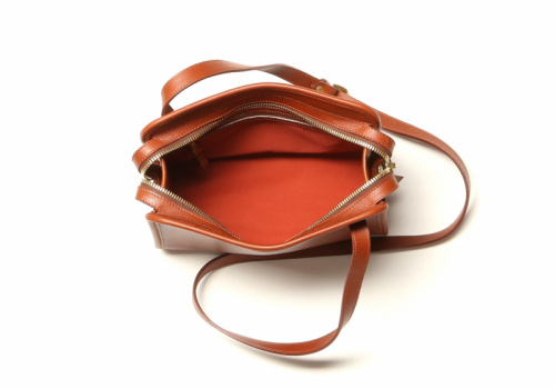 Blazer Shoulder Bag - Cognac / Terracotta Interior - Pebbled Grain Leather in