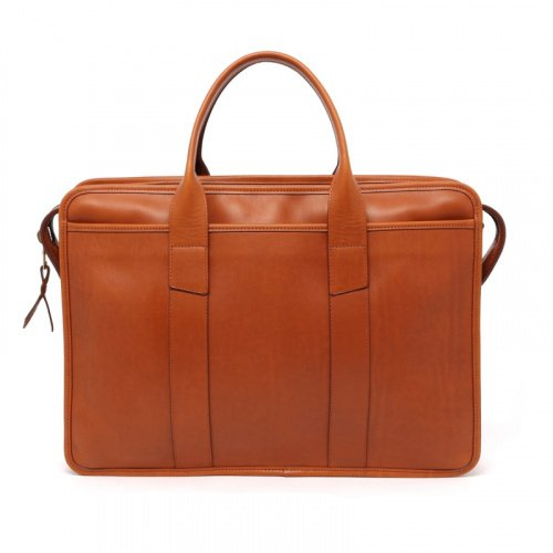Bound Edge Zip-Top - Cognac - Pull Up Leather  in