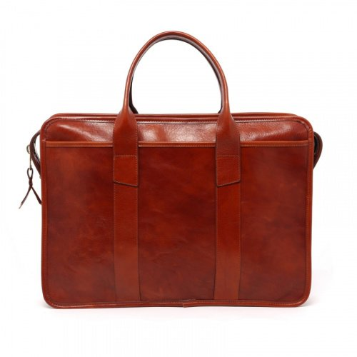 Bound Edge Zip-Top Briefcase - Cognac - Hand Stained Leather  in